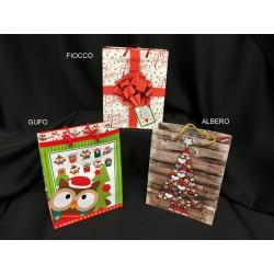 Shopper natalizia in carta con manici, soggetti misti. CM 18x10 H 23