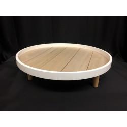 Alzata legno rotonda bianca e naturale con tre piedistalli. Diam. 41 H 11