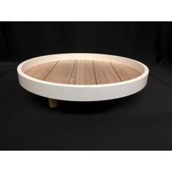 Alzata legno rotonda bianca e naturale con tre piedistalli. Diam. 30 H 7
