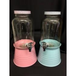 Dispenser per liquidi in vetro con tappo e base metallo. H 38