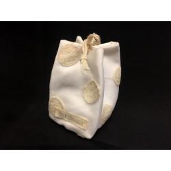 Saccotto doppio tessuto con ricamo pois. Base CM 6x6 H 8