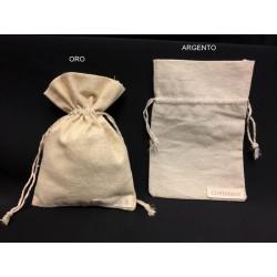Sacchetto tessuto grezzo con trama lamè. CM 10x15