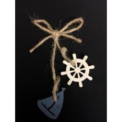 Fiocco corda con pendagli timone e barca legno. CM 9