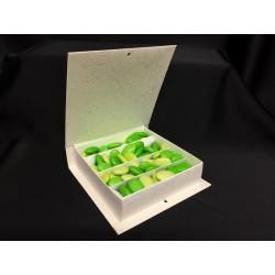 Scatola forma libro in cartoncino con divisorio per degustazione. Parte contenitiva CM 15x15 H 4