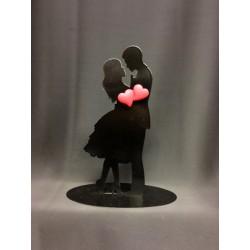 Cake topper metallo silhouette sposi con cuori calamita. H 18