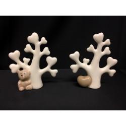 Albero porcellana bianca con orsetto o cuore tortora. H 7.5