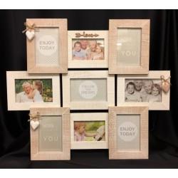 Portafoto multiplo in legno con pendagli cuore e corda. N.7 foto 14x9. N. 2 foto 12x8