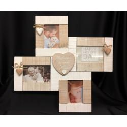Portafoto multiplo in legno con pendagli cuore e corda. N.2 foto 11x7. N. 2 foto 13x8