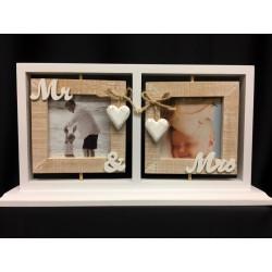 Portafoto doppio in legno girevole con pendagli cuore e corda. N. 2 foto 9x9