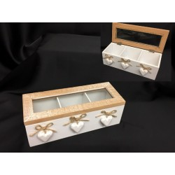 Scatola legno apribile con divisori, applicazione cuori e corda. CM 24x9.5 H 8
