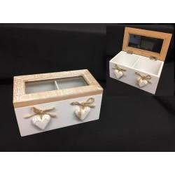 Scatola legno apribile con divisori, applicazione cuori e corda. CM 16.5x9.5 H 8