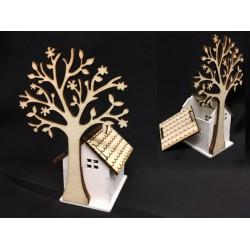 Scatolina legno forma casa apribile con albero. Casa CM 4.5x5.5 H 6 Albero H 12