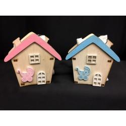 Casa in legno con sacchettino interno. CM 3.5x5 H 8