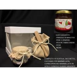 Barattolo 120 g marmellata, completo come in foto: scatola, sacchetto, cucchiaio, copritappo e ciondolo argento. GUSTI ASSORTITI