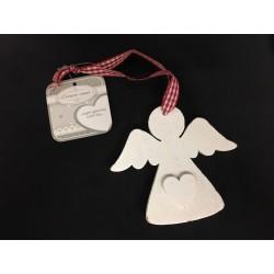 Angelo legno bianco da appendere con cuore e nastro ROSSO. CM 10
