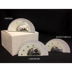 Icona vetro glitter, strass e argento con scatola. Base CM 9x2.5 H 4.5