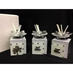 Profumatore vetro e cristallo con glitter e placca argento, con scatola. CM 5x5 H 7.5