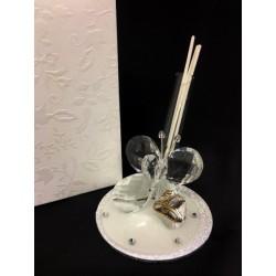 Profumatore vetro e cristallo con farfalla, glitter e placca 50°, con scatola. Diam. 7 H 8