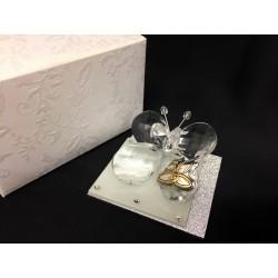 Farfalla cristallo su base vetro glitter e strass, con placca 50° e scatola. CM 6x6 H 3