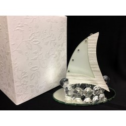 Veliero in vetro e cristallo con base specchio e scatola. Base CM 10x6 H 9.5