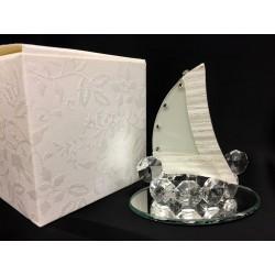 Veliero in vetro e cristallo con base specchio e scatola. Base CM 7.5x5 H 7.5