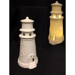 Faro ceramica, decoro mattoncini, con luce LED. Diam. 6,5 H 13