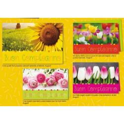 Biglietti auguri compleanno con campi di fiori. Ass 4. CM 12x17