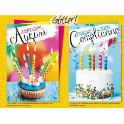 Biglietti auguri compleanno, torta e candeline. Ass 2. CM 12x17