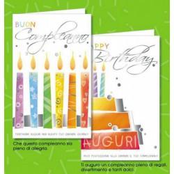 Biglietti auguri compleanno, disegno candeline. Ass 2. CM 8.5x13.5