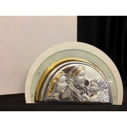 Icona vetro con placca argento e strass. Da appendere o da appoggio con scatola. CM 29x20