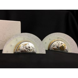 Icona vetro glitter, strass e argento con scatola. Base CM 13x3 H 7