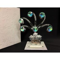 Albero vetro e cristallo con base glitter e placca 50°. CM 10.5. MADE IN ITALY
