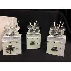 Profumatore vetro e cristallo con farfalla e glitter e placca con scatola. CM 6x6 H 10