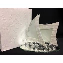 Veliero in vetro e cristallo con base specchio e scatola. Base CM 12x6 H 9.5