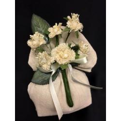 Sacchetto tessuto grezzo, base piatta, con pick foglie e fiori juta. CM 11