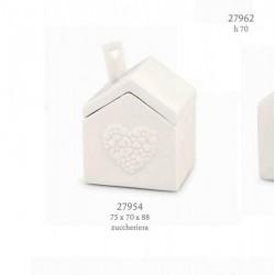 Zuccheriera porcellana forma casa con decoro cuori. CM 7.5x7 H 8.8