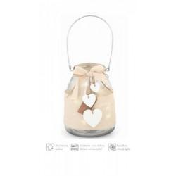 Vaso lanterna vetro con manico e luci LED interne e applicazioni. H18 Diam 14