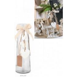 Vaso vetro con applicazioni fiocchi e cuori. Diam. 8 H.25