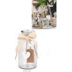 Vaso vetro con applicazioni fiocchi e cuori. Diam. 8 H 16