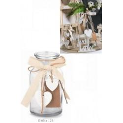 Vaso vetro con applicazioni fiocchi e cuori. Diam. 8 H 12.5