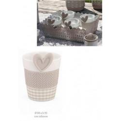 Tazza mug porcellana con dettagli e infusore silicone. Diam. 9 H 9.5