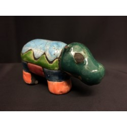 Ippopotamo in ceramica RAKU. CM 15