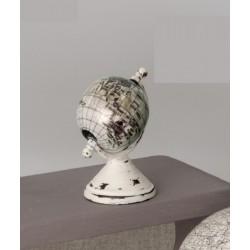 Globo bianco in resina e legno. CM 9