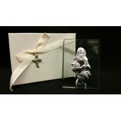 Icona vetro con placca comunione femmina e scatola con ciondolo. Icona CM 6x8