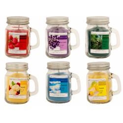 Bicchiere vetro con manico e candela. 6 profumazioni. CM 8.5