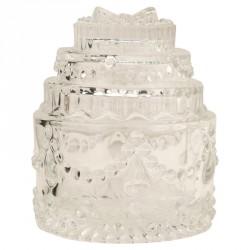 Scatola vetro forma torta. Diam. 7 H 9