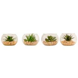 Piantina artificiale in vaso vetro con graniglia. Ass 4. Diam 8.5 H 6