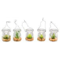 Piantina artificiale in vaso vetro con manico e graniglia. Ass 6. H 7 + manico