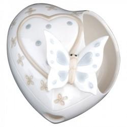 Cuore ceramica con farfalla con scatola. CM 9x15