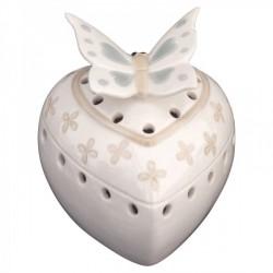 Cuore profumatore traforato ceramica con scatola. CM 9